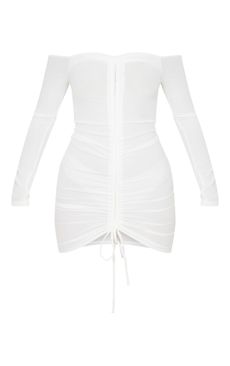 White Ribbed Long Sleeve Ruched Bodycon Dress 4