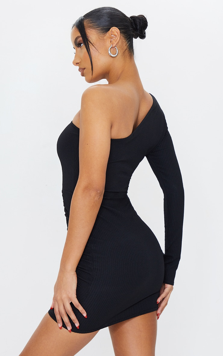 Black Ribbed One Shoulder Ruched Bodycon Dress 2