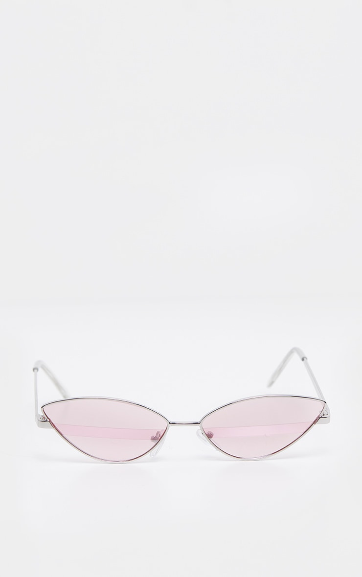 Pink Lens Silver Frame Supper Slim Cateye Sunglasses 2