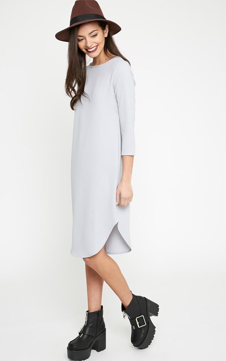 Camilla Grey Crepe Shift Dress 1