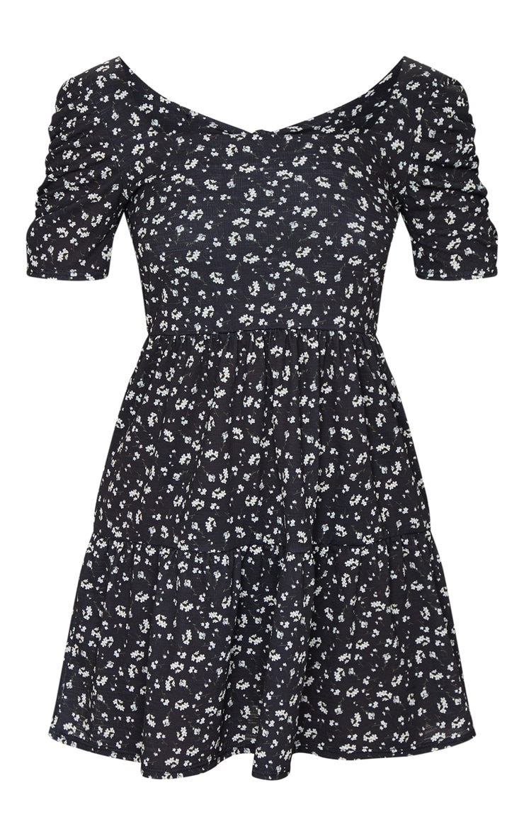 Black Floral Print Tie Back Ruched Sleeve Smock Dress 5