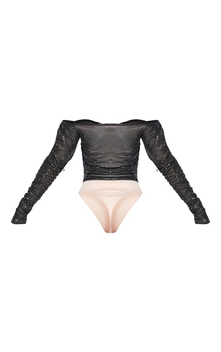 Black Sequin Ruched Bardot Long Sleeve Bodysuit 6