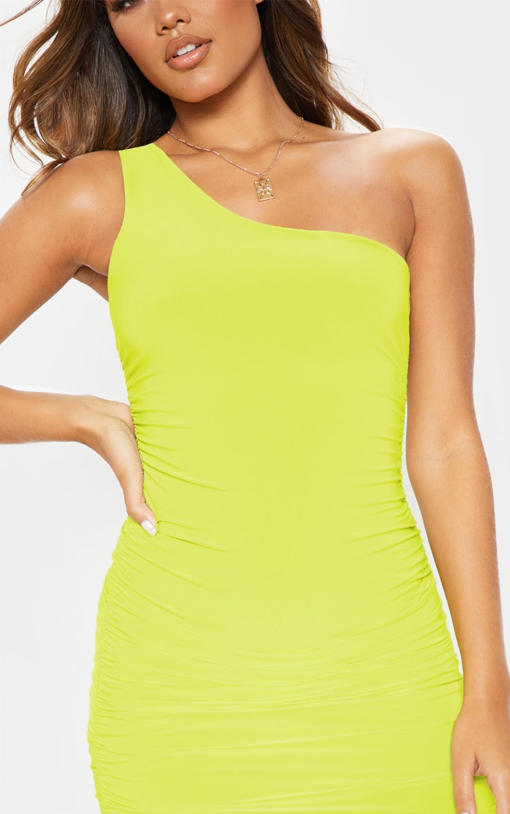 Lime Slinky One Shoulder Ruched Bodycon Dress 5