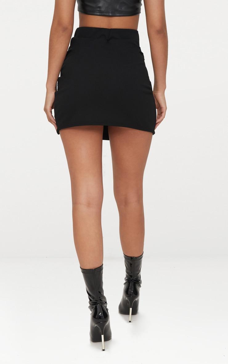 Mini jupe noire fendue à lacets  4