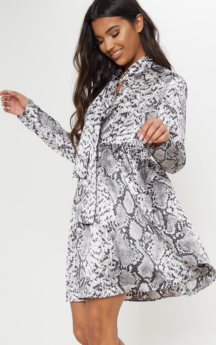 Grey Snake Print Neck Tie Button Front Midi Smock Dress 4