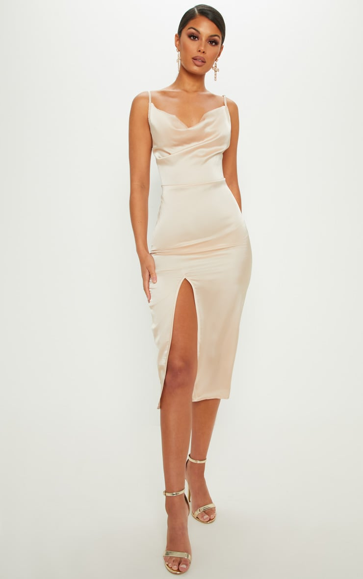 Champagne Strappy Satin Cowl Midi Dress 1