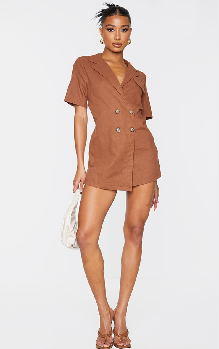 Chocolate Linen Look Boxy Playsuit 3