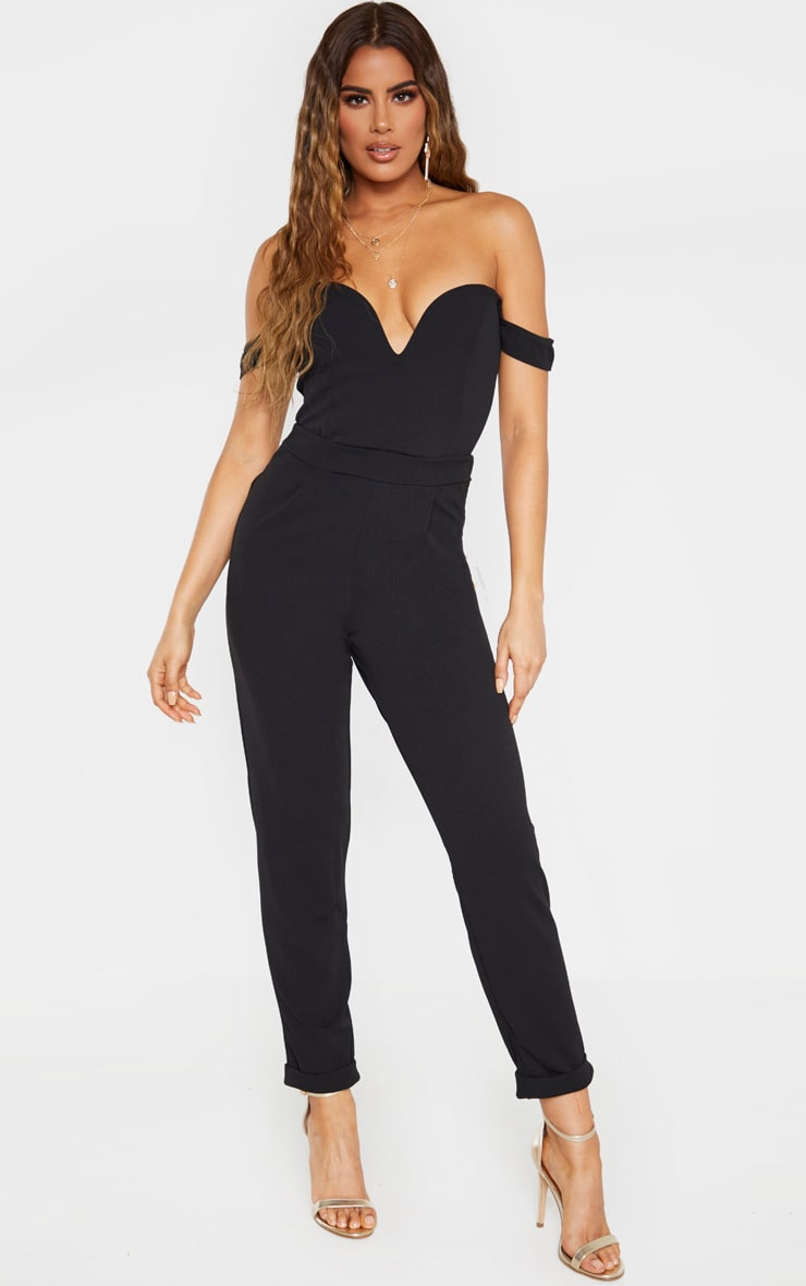 Tall Black Basic Roll Cuff Crepe Pants  1