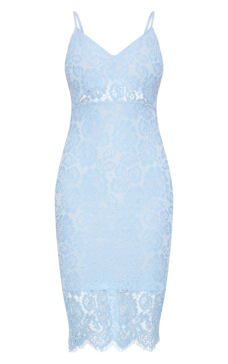 Pale Blue Lace Plunge Midi Dress  3