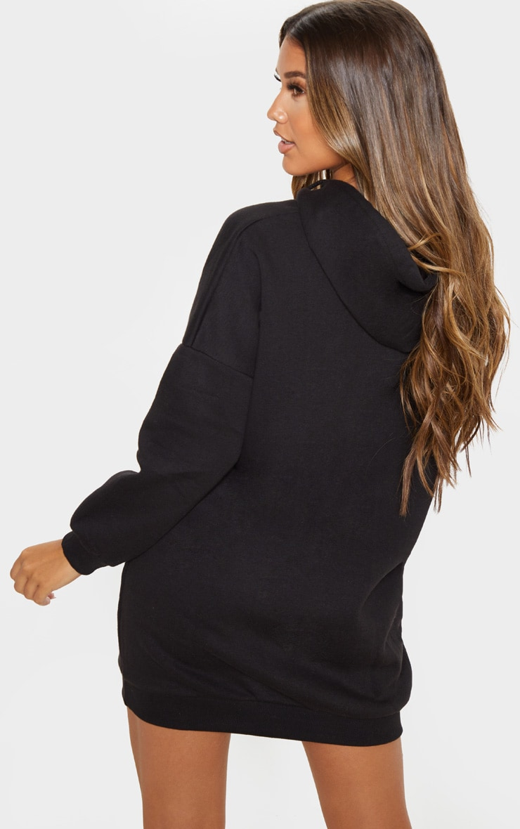 Black Oversized Boyfriend Hoodie Sweatshirt Dress 2