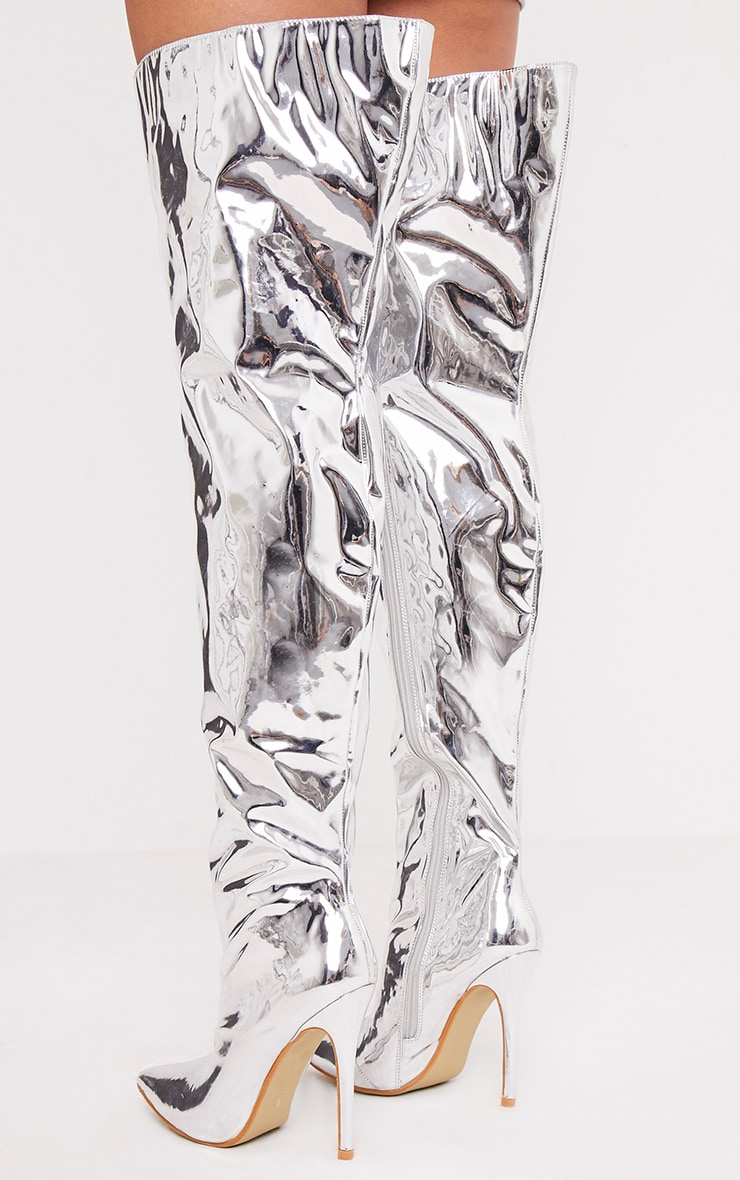 Trixy Silver Mirrored Thigh High Boots 5