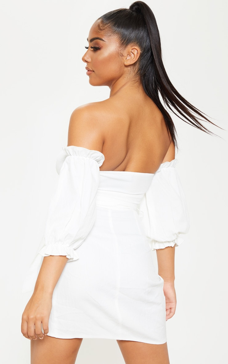 Petite White Bardot Tie Front Wrap Mini Dress 2