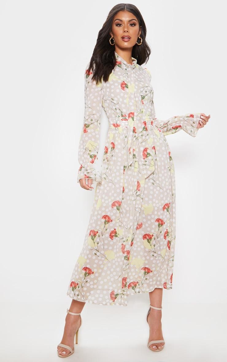 Cream Polka Dot Floral Chiffon Neck Tie Skater Midi Dress 1