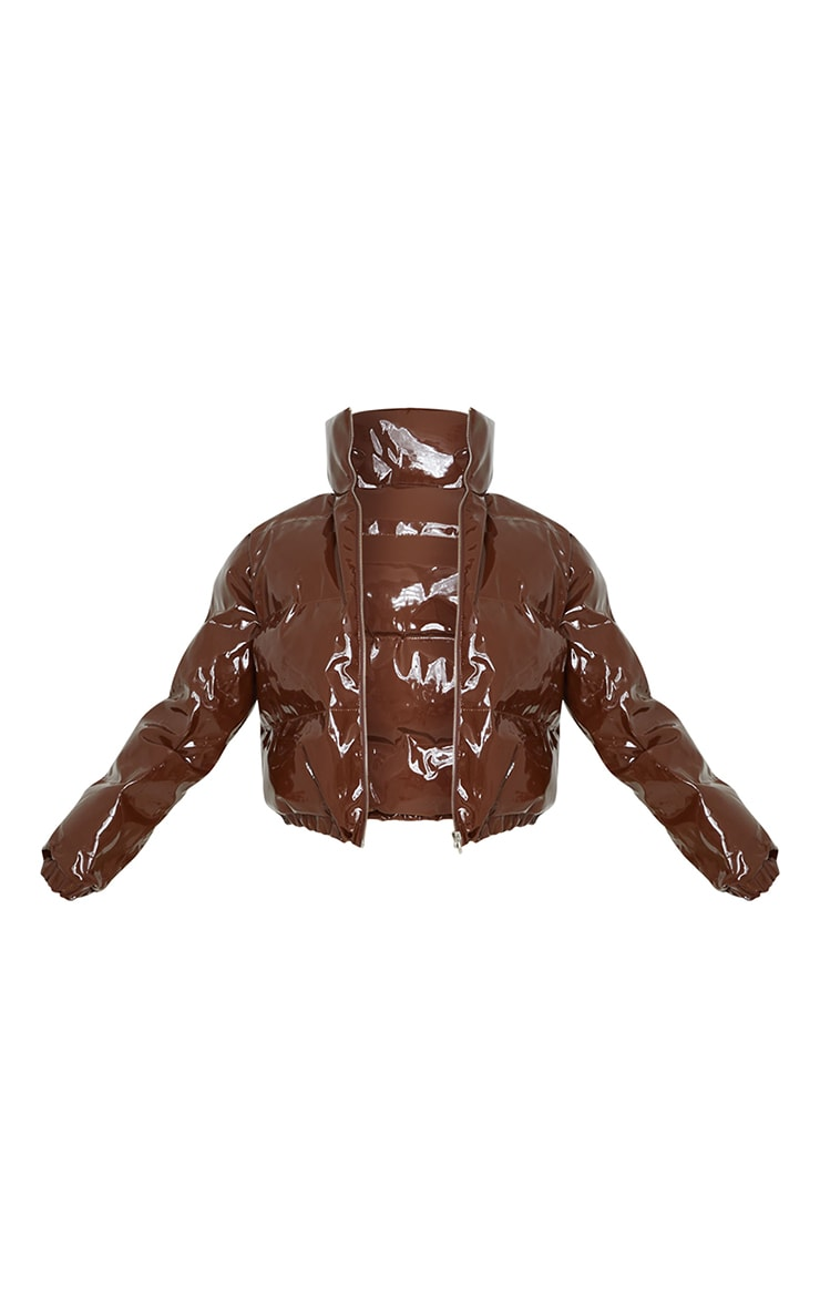 Chocolate Cropped Vinyl Puffer Jacket 5