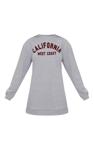 Grey California Slogan Oversized Jumper Dress