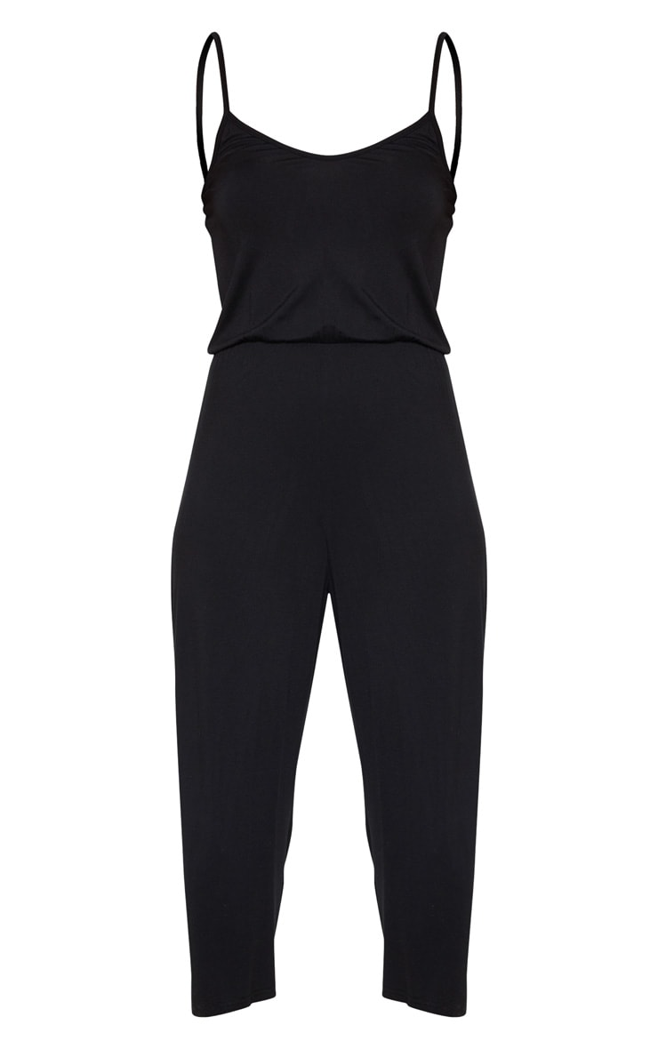 Black Strappy Jersey Culotte Jumpsuit 3
