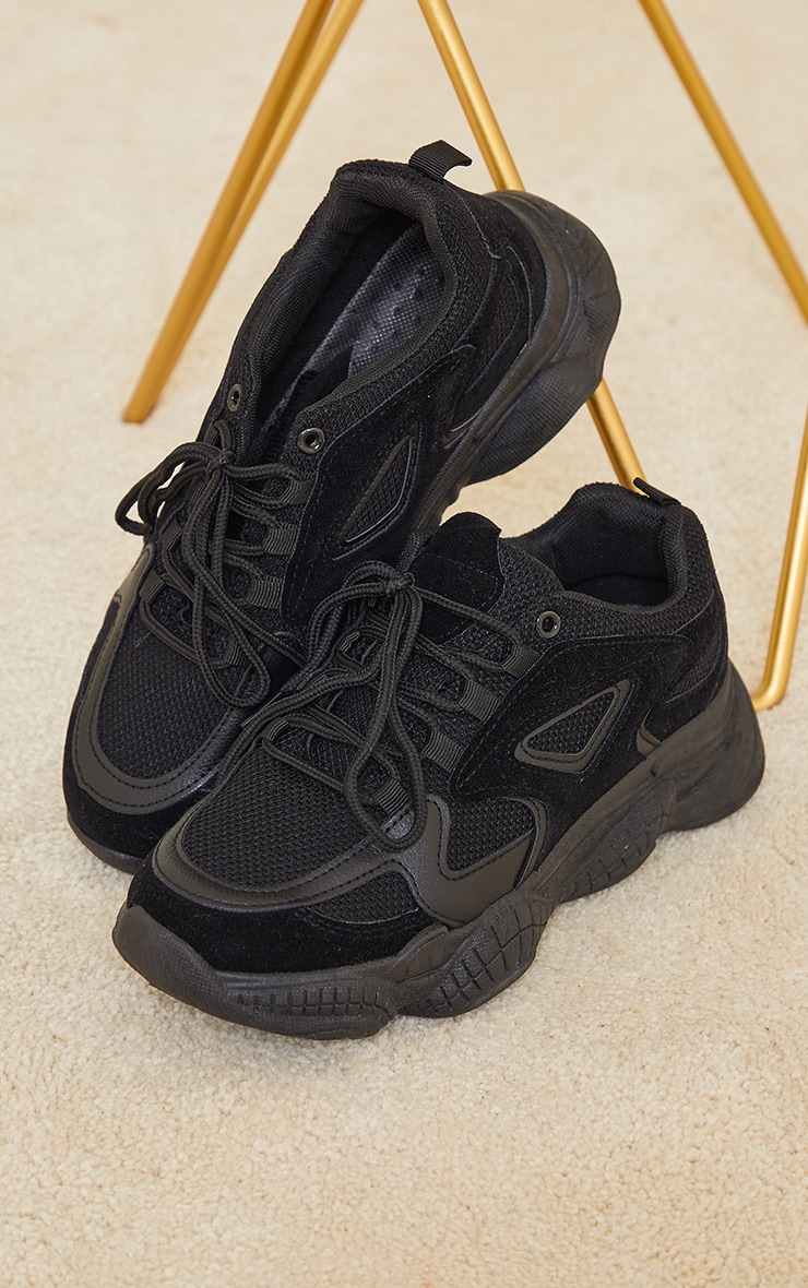 Black Wide Fit Chunky Bubble Sole Panelled Up Sneakers 3