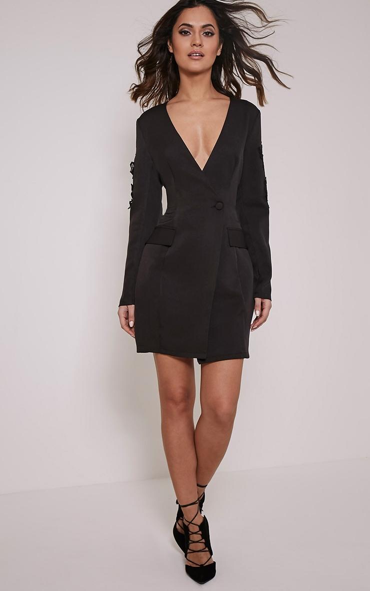 Sabella Black Applique Detail Blazer Dress 4