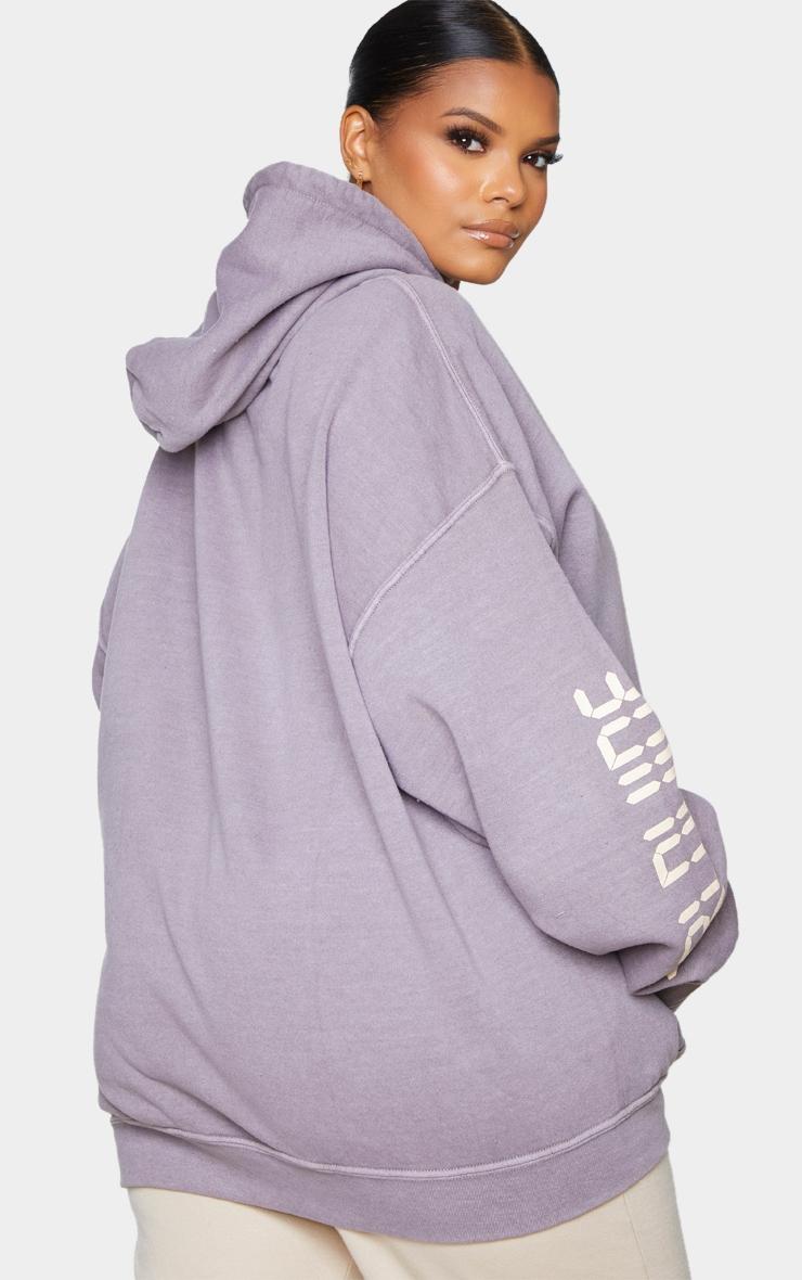 Plus Purple Worldwide Slogan Oversized Hoodie 2