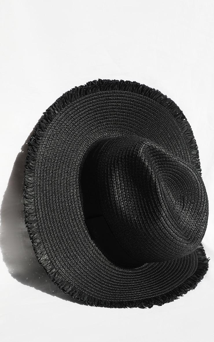 Black Straw Frayed Edge Fedora 3