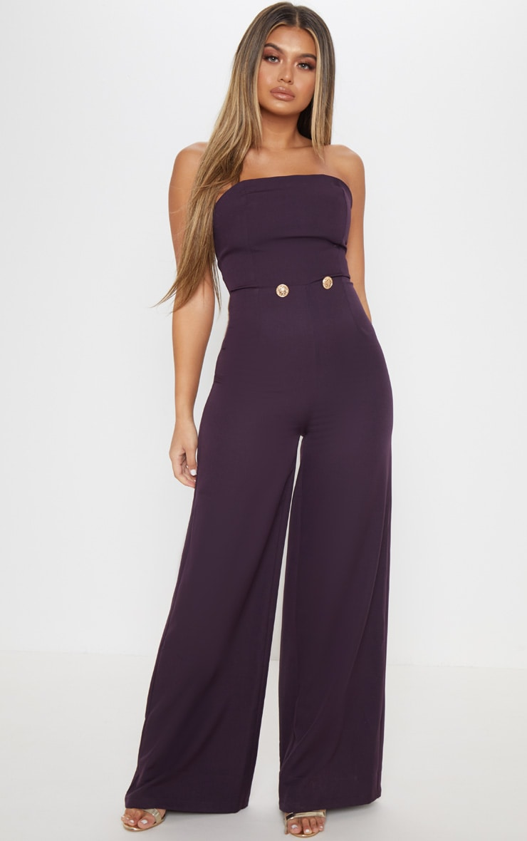 Plum Woven Button Detail Jumpsuit