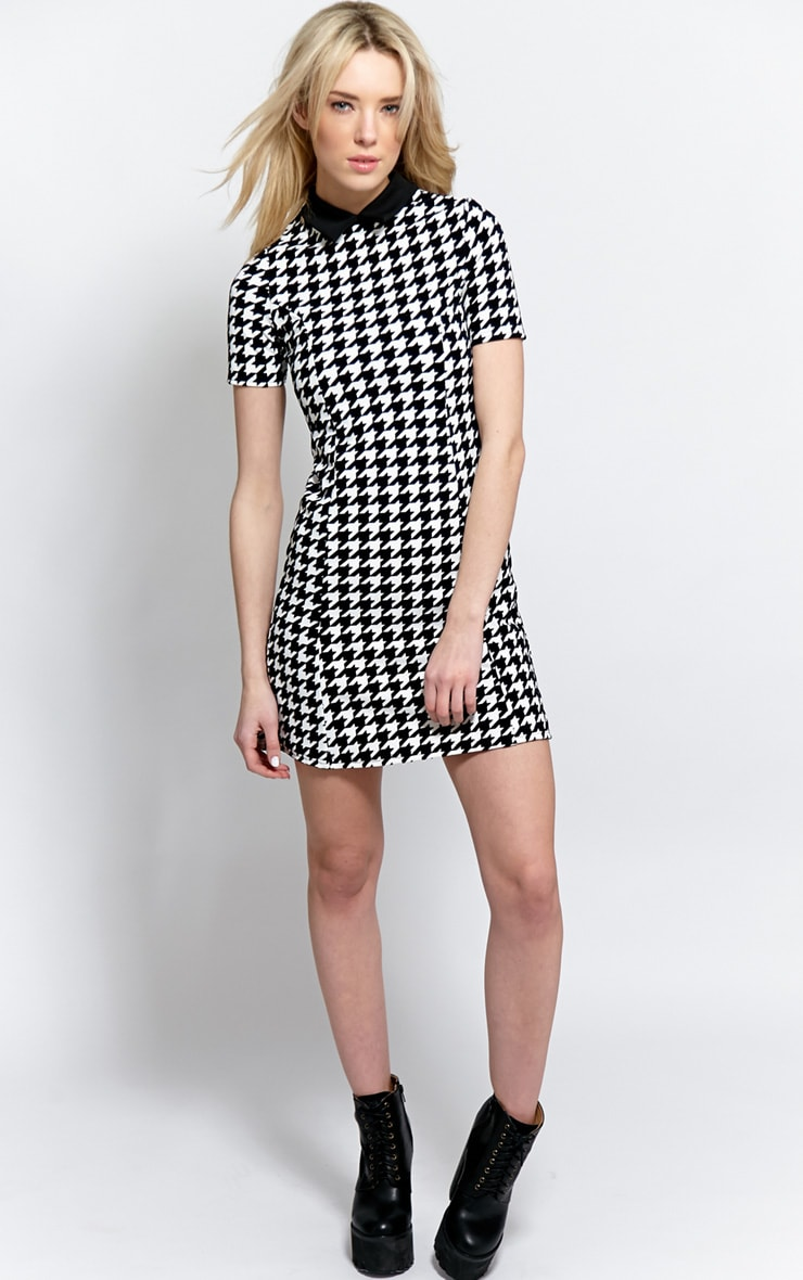 Naomi Black & White Dogstooth Collar Dress 3