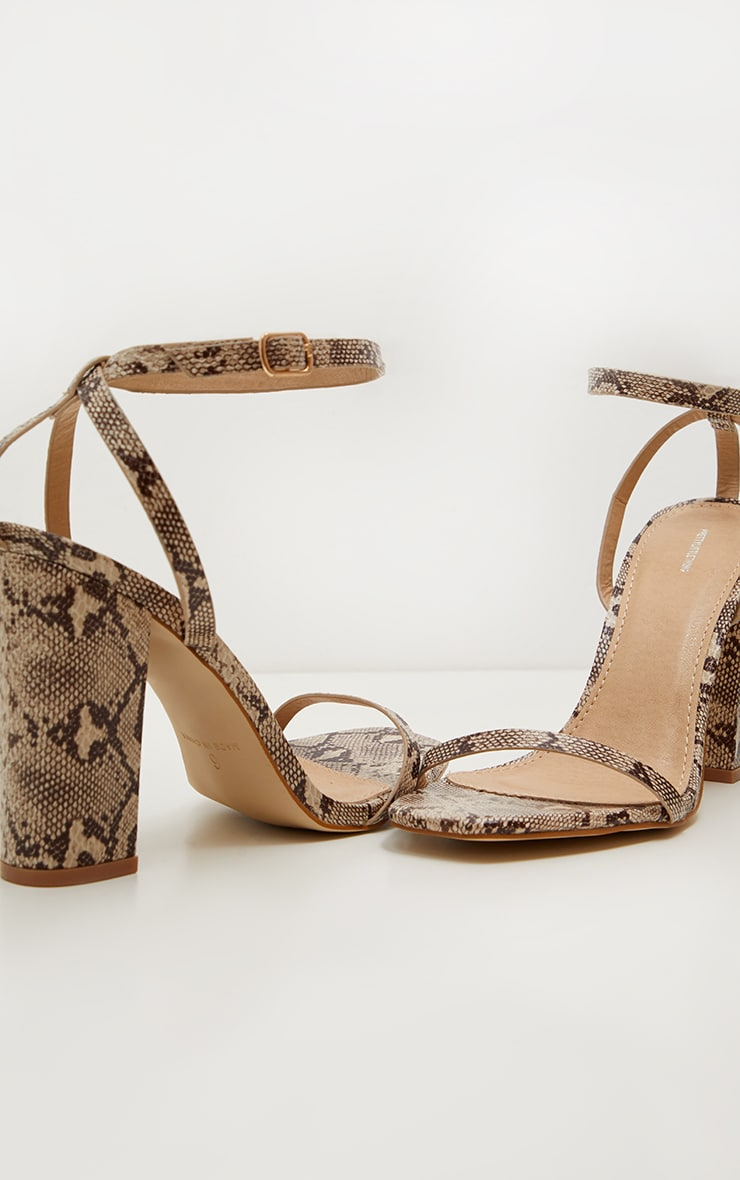 Snake Square Toe Block Heel Sandal 3