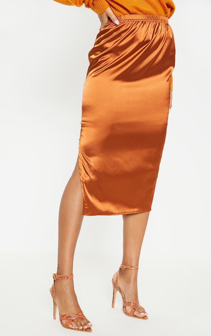 Burnt Orange Satin Side Split Midi Skirt 2