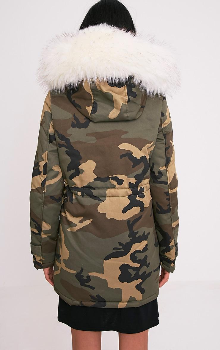 Fliss Premium parka camouflage à doublure en fausse fourrure blanche 2