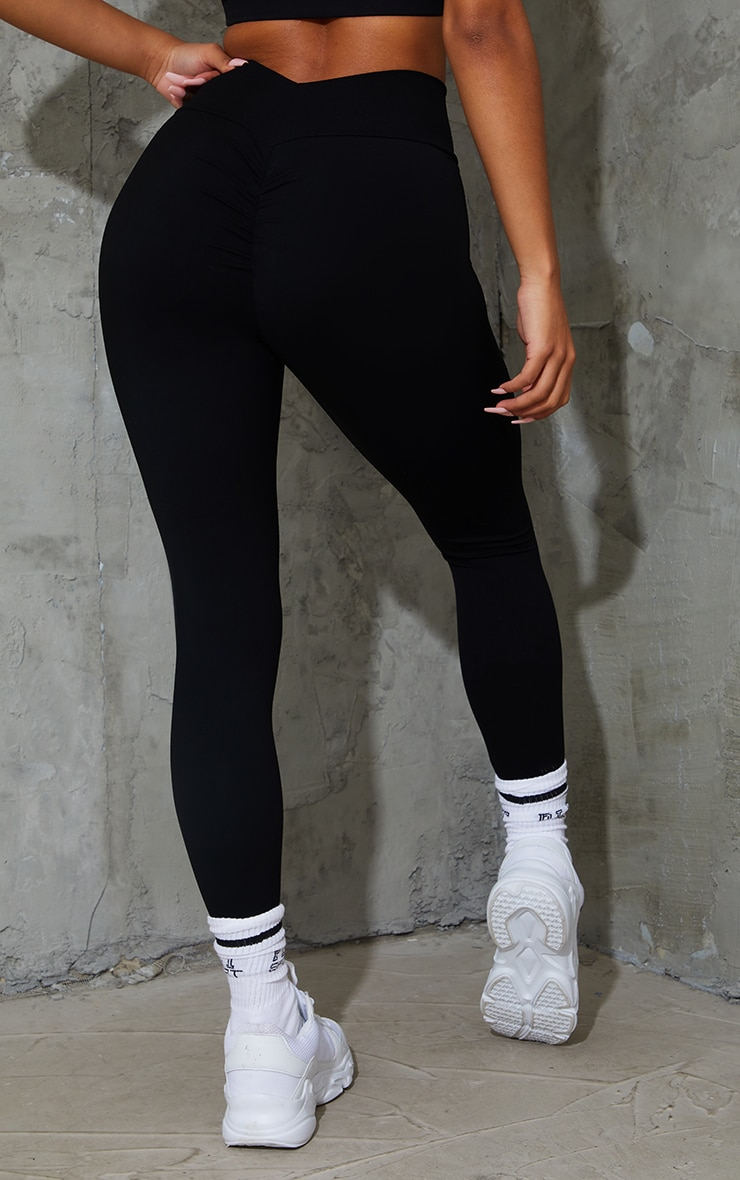 Black Sculpt Luxe Ruched Bum Gym Leggings 3