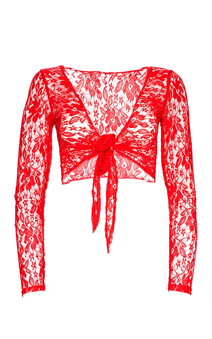 Red Lace Tie Front Beach Top 3