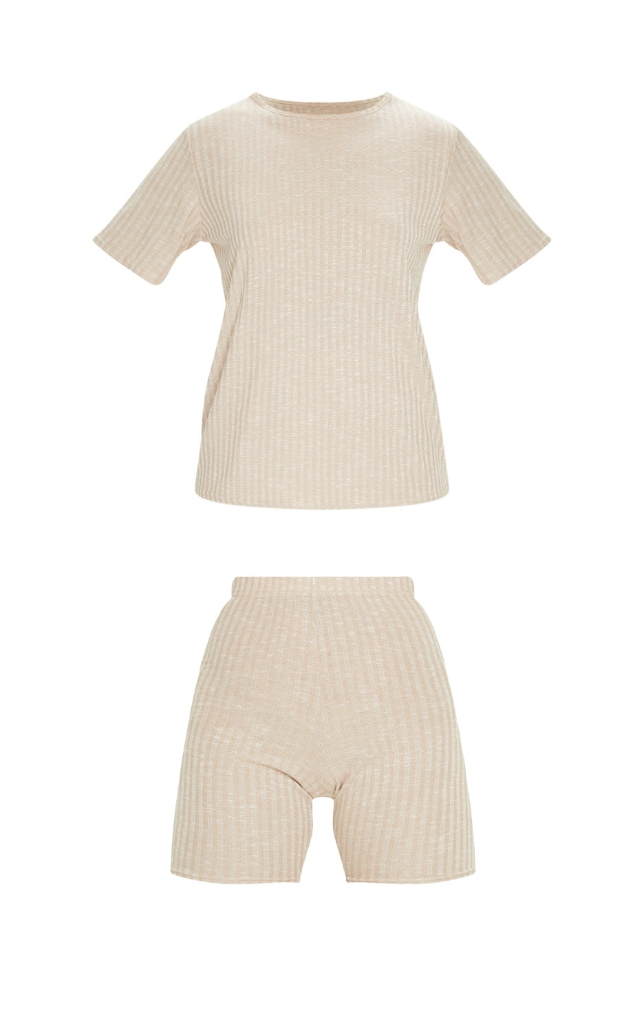 Oatmeal Oversized Knitted Tee And Short Set 5