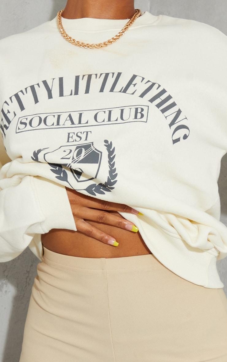 PRETTYLITTLETHING Recycled Cream Social Club Print Sweater 4