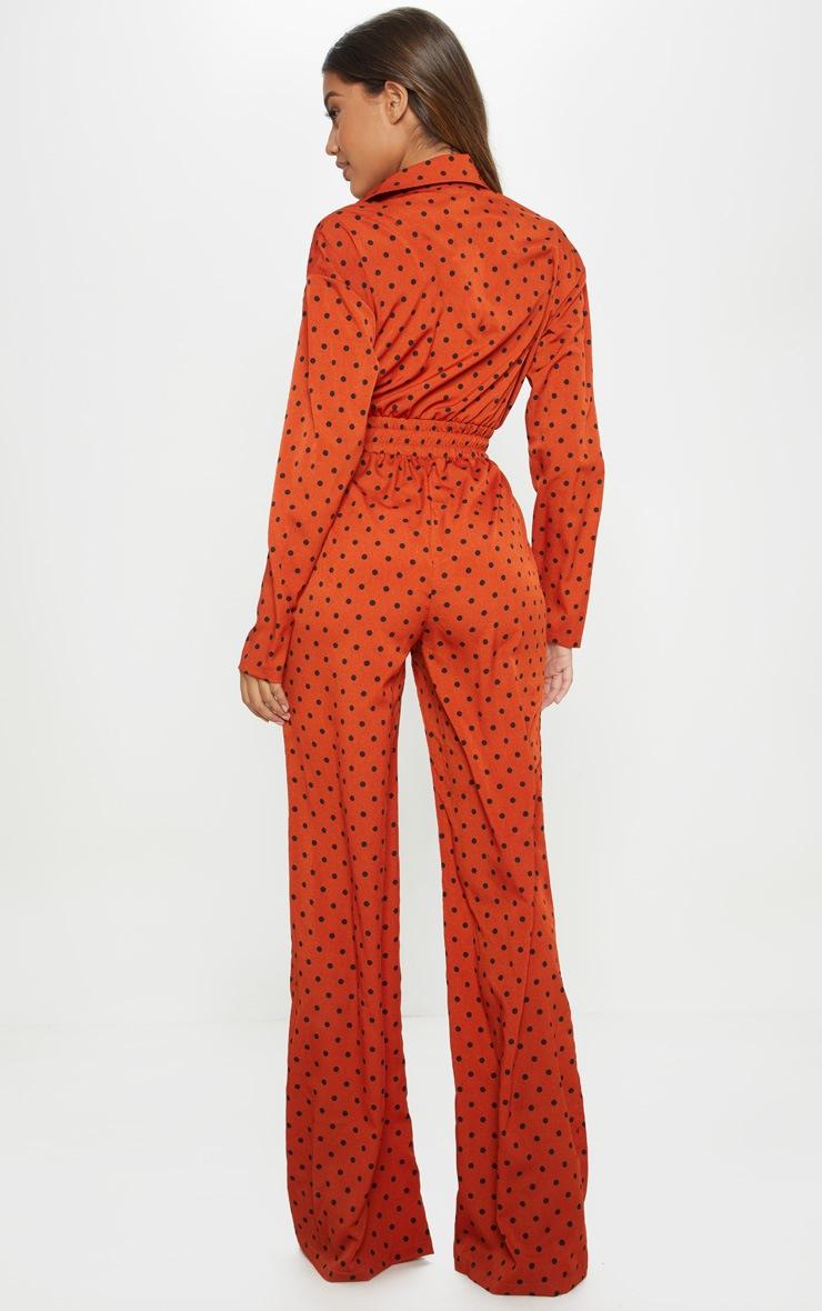 Rust Polka Dot Shirred Waist Wide Leg Jumpsuit 2