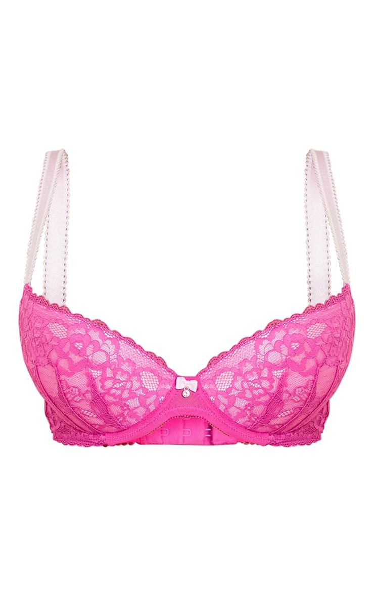Pink Ann Summers DD+ Sexy Lace Plunge Bra 5