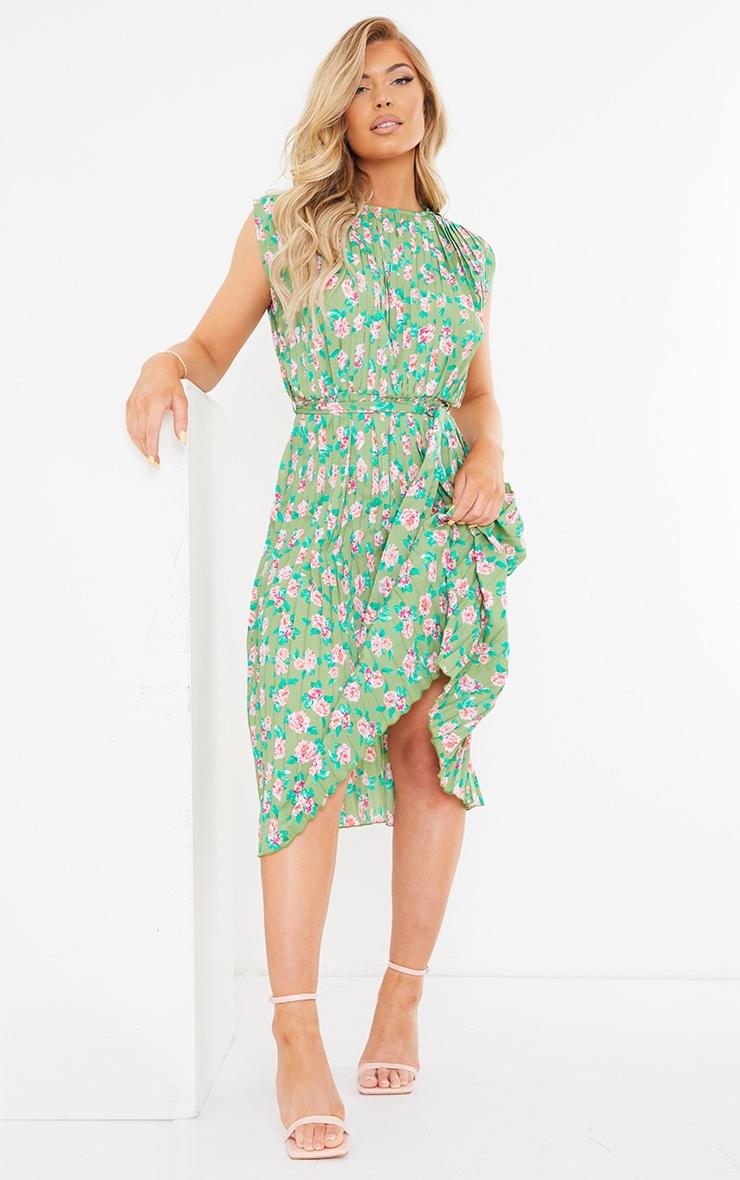 Green Floral Print Pleated Sleeveless Midi Dress 1