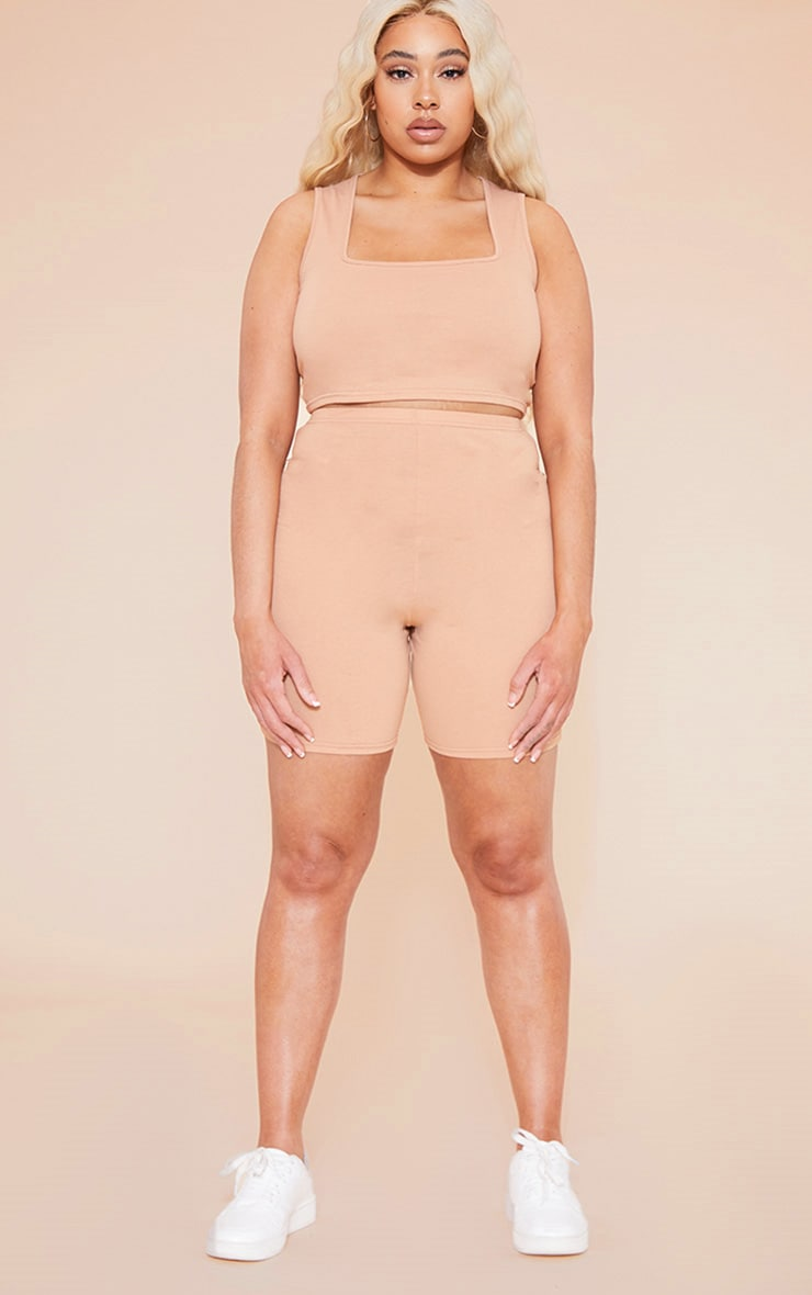 RECYCLED Plus Pale Tan Square Neck Crop Top 4