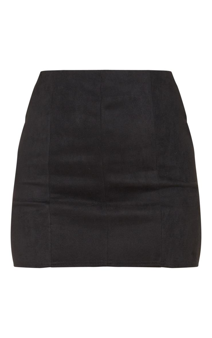 Black Faux Suede Seam Detail Mini Skirt  3