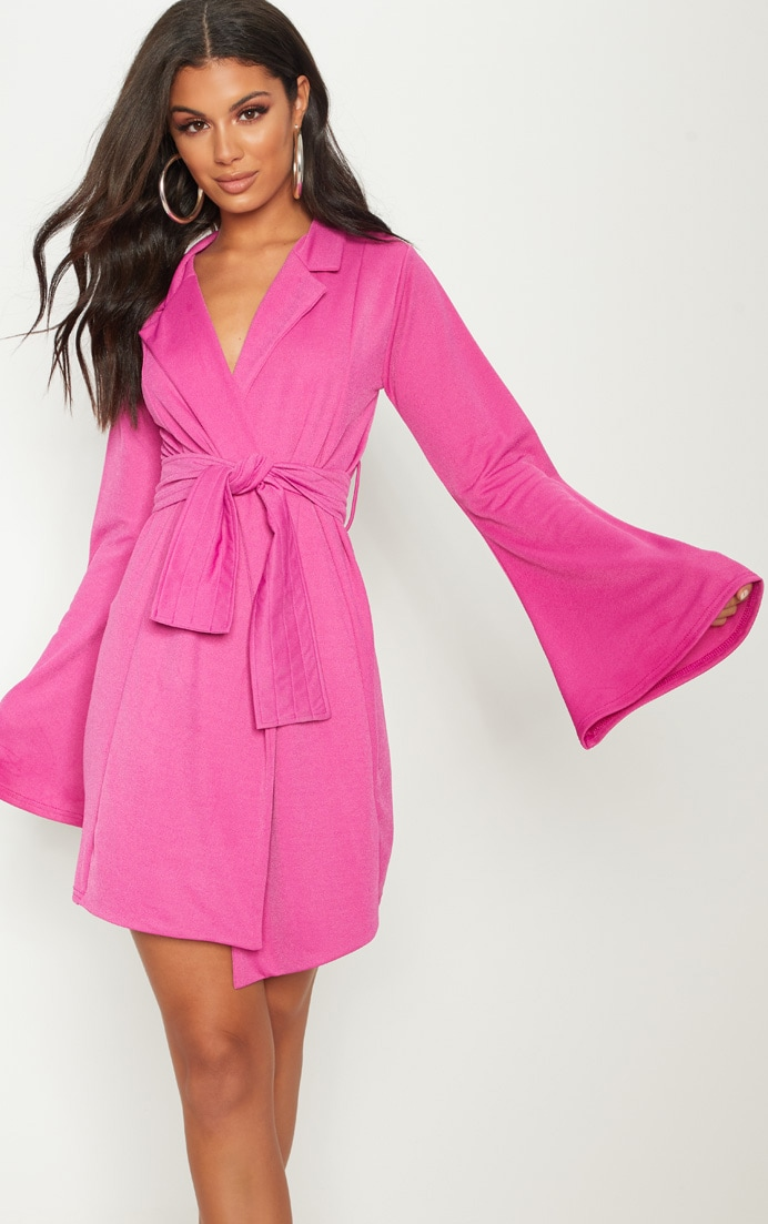 Fuchsia Pleated Belt Blazer Dress