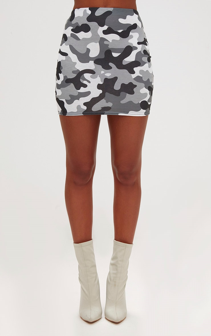 Grey Camo Print Mini Skirt 2