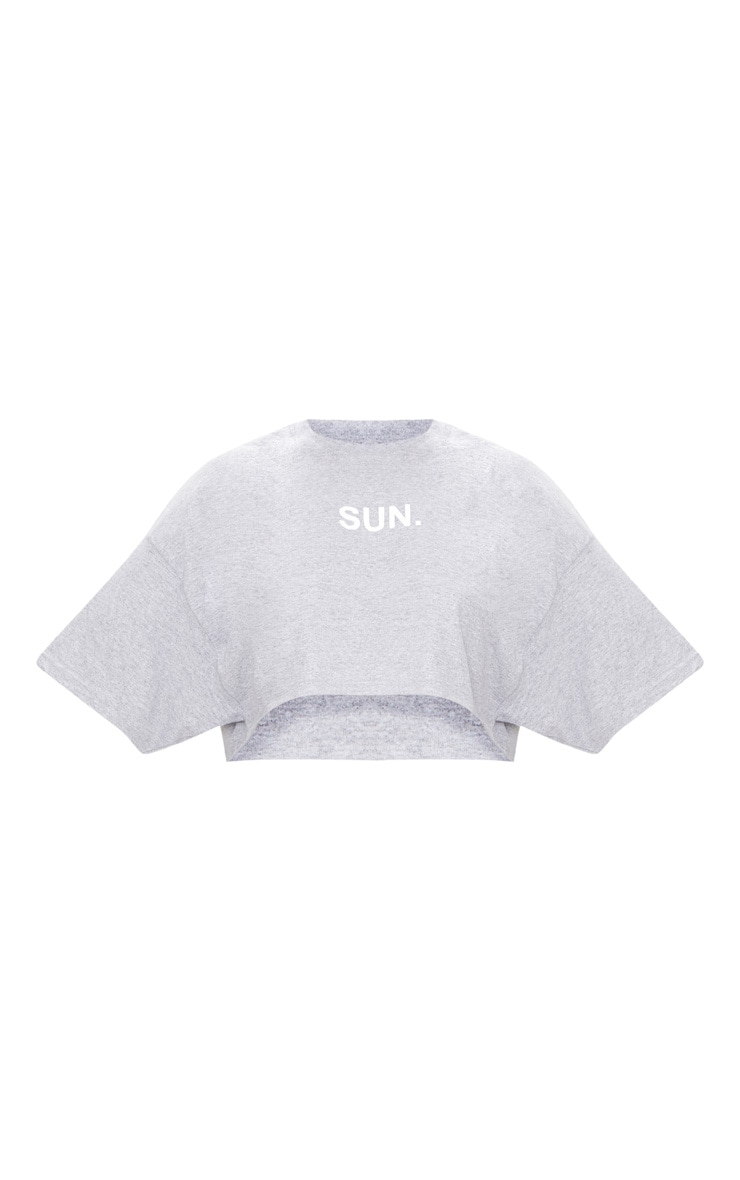 Plus Grey SUN Slogan Cropped T Shirt 3