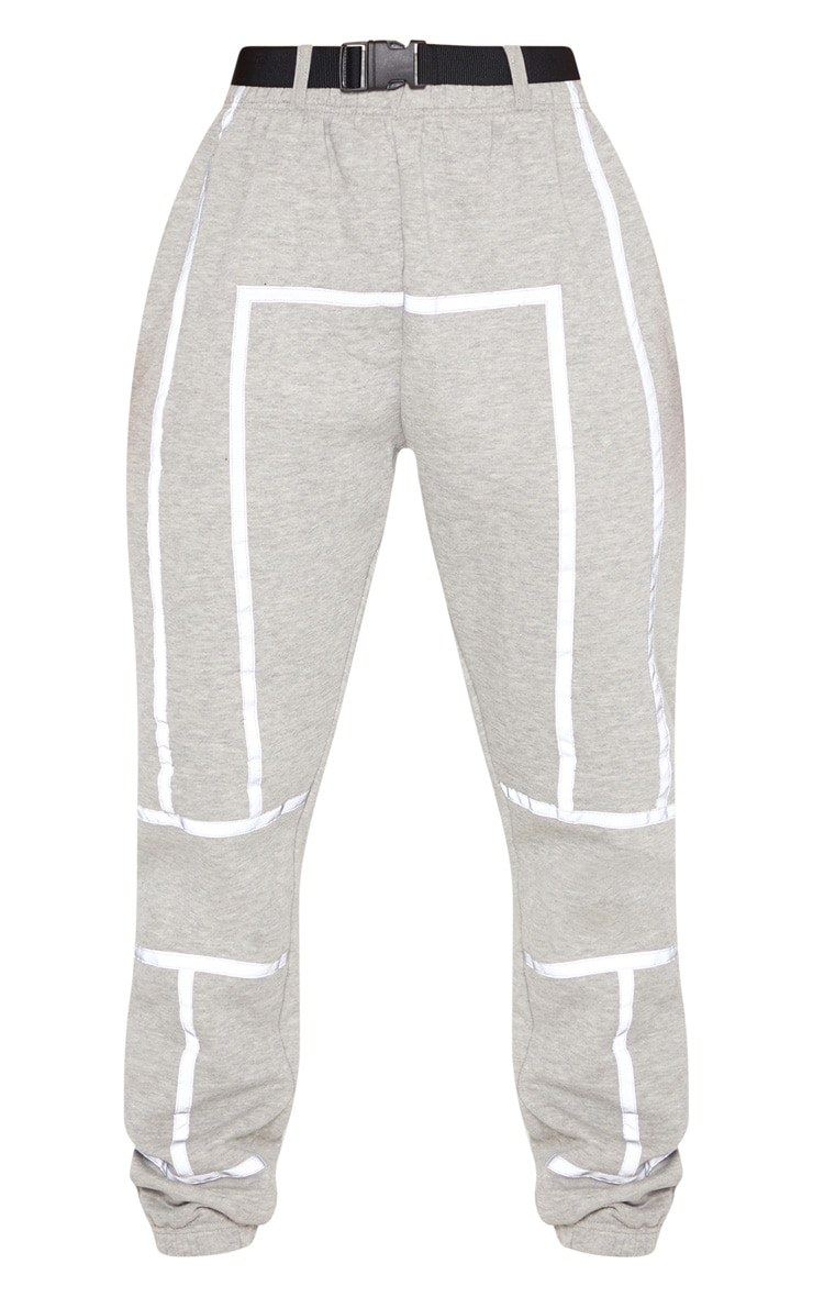 Dove Grey Belted Reflective Tape Cuffed Jogger 4