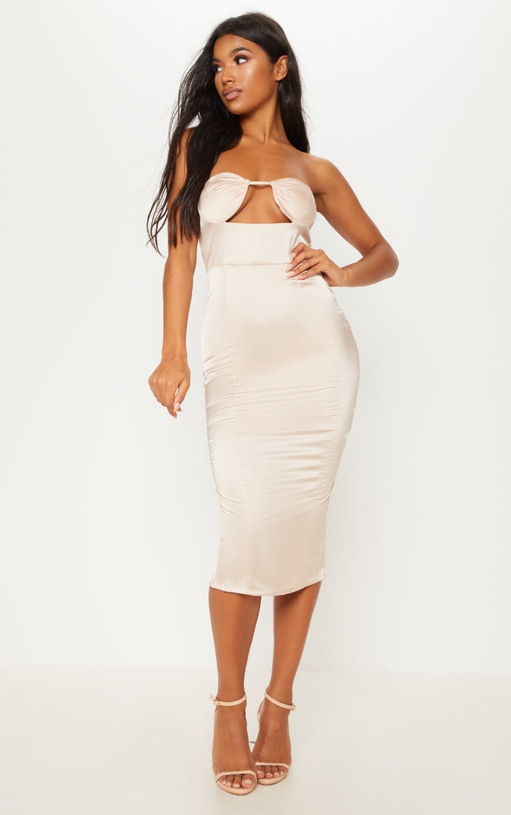 Champagne Satin Cup Detail Midi Dress