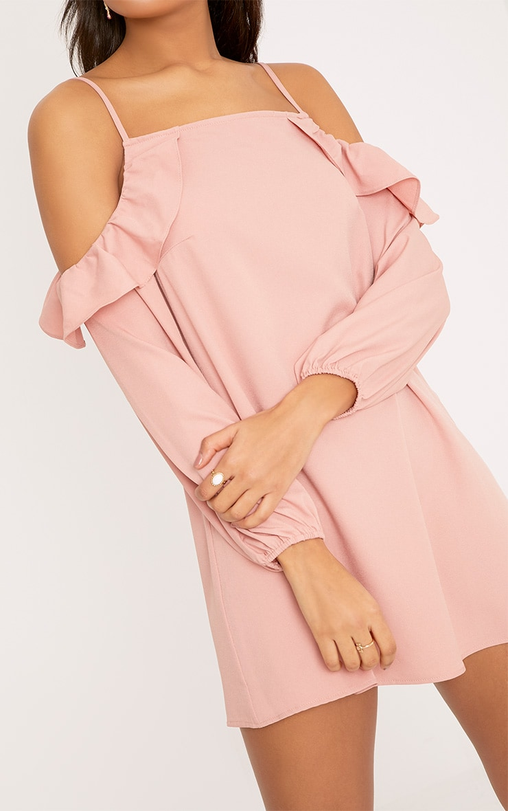 Felicia Dusty Pink Cold Shoulder Frill Detail Swing Dress 5