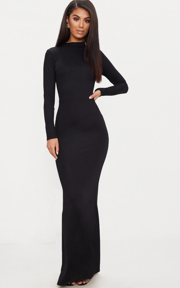 Black High Neck Open Back Maxi Dress 2