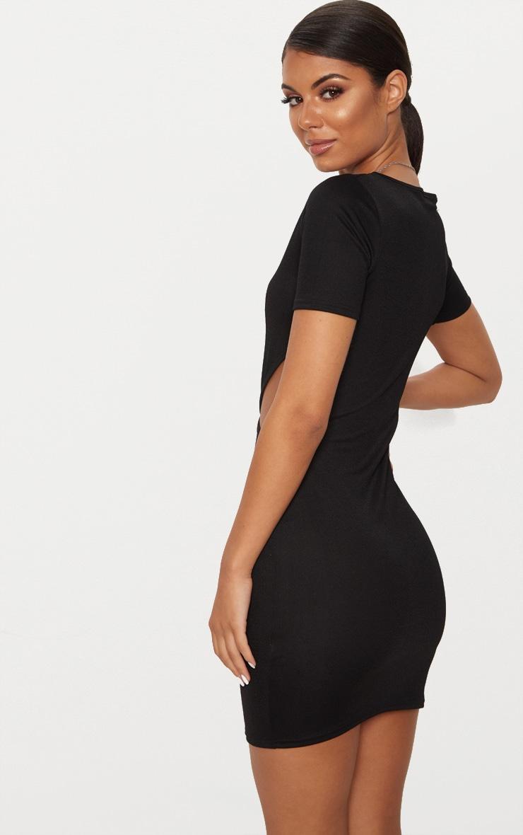 Black Short Sleeve V Cut Out Bodycon Dress 2