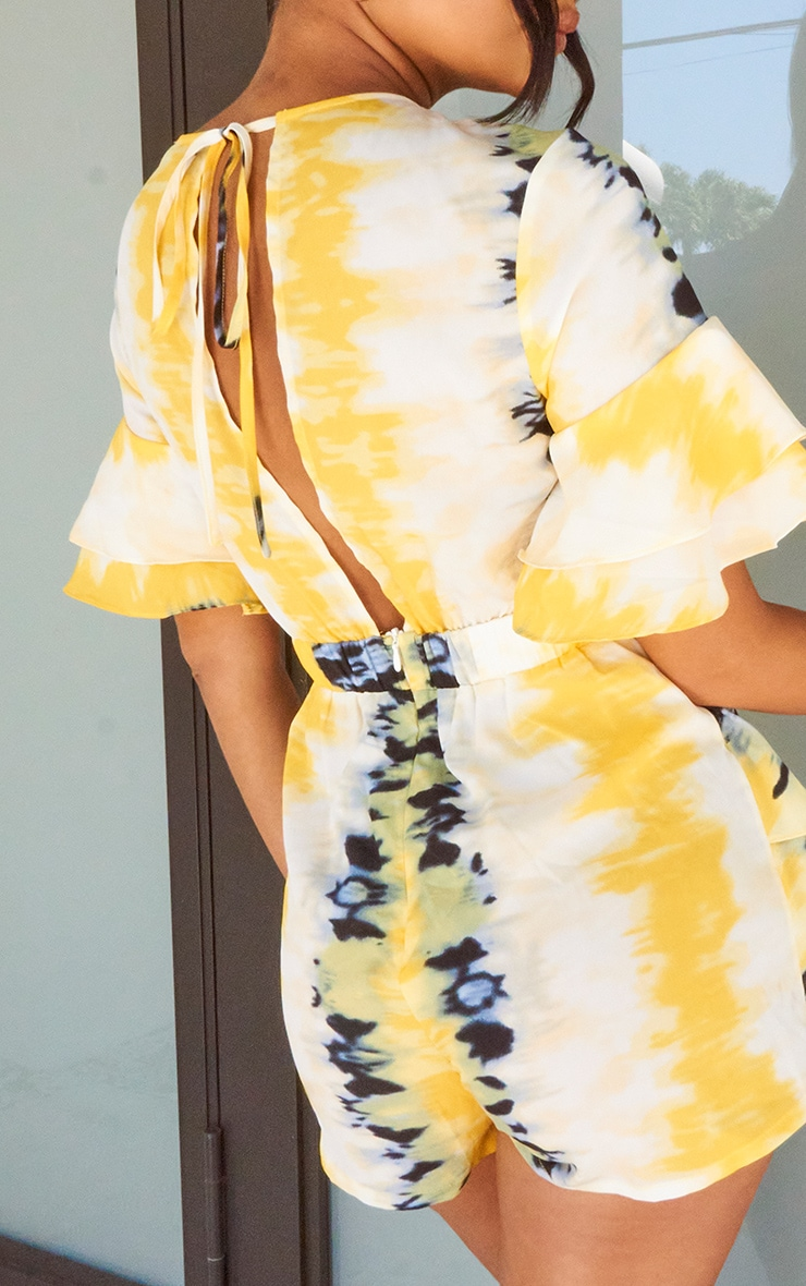 Yellow Tie Dye Frill Sleeve Tie Back Romper 4