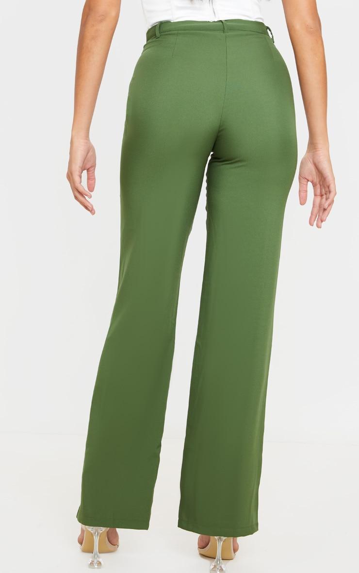 Khaki Anala High Waisted Straight Leg Pants 4