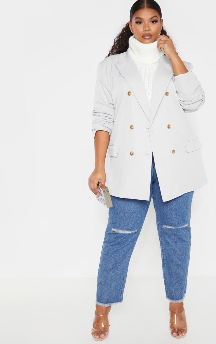 Plus Mint Oversized Pinstripe Woven Blazer 4