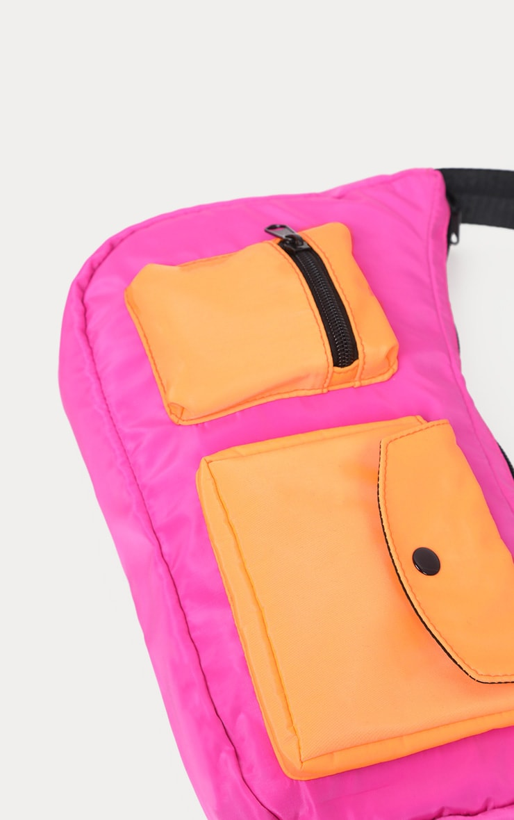 Neon Pink And Orange Double Pocket Nylon Shoulder Bag 4